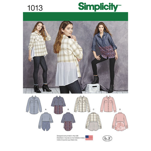 Simplicity Pattern 1013 Misses' Shirt with Fabric Variations