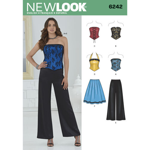 New Look Pattern 6242 Misses' Corset Top, Pants and Skirt