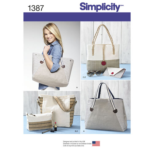 Simplicity Pattern 1387 Bags in Assorted Sizes