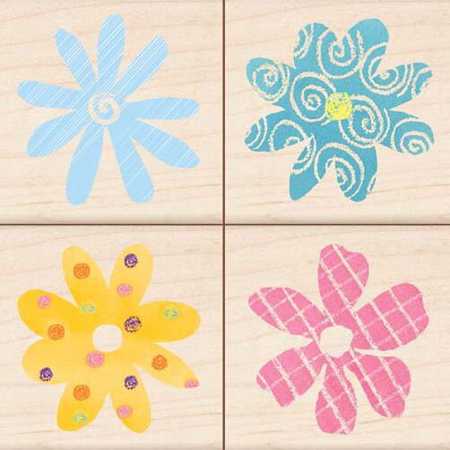 Patterned Flowers (Set of 4)_96028