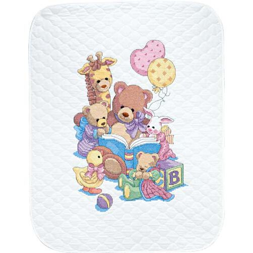 Teddy and Friends Quilt, Stamped Cross Stitch_72915