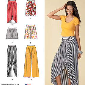 Misses' Pull on Knit Skirt, Pants & Shorts
