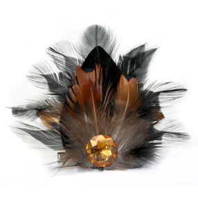 Brown Feather Drop Pin & Clip Flower_56-63025