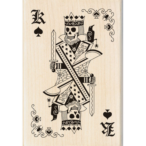 Skeleton King Playing Card Wood Stamp_60-00947