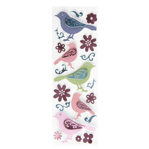 Modern Damask Embossed Bird Stickers _41-00266