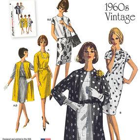 Misses' Vintage 1960s Dress, Coat & Vest in Two Lengths