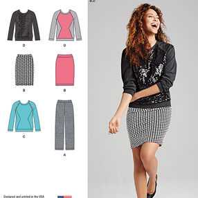 Misses' Knit Pants, Skirt and Top