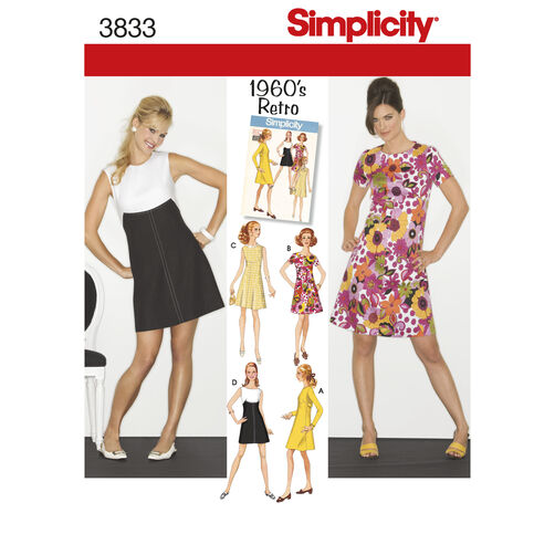 Simplicity Pattern 3833 Misses' & Miss Petite 1960s Vintage Dresses