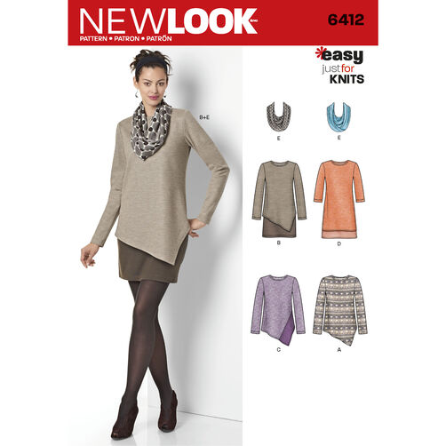 New Look Pattern 6412 Misses' Easy Knit Dress and Tunics With Scarf