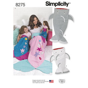 "Simplicity Pattern 8275 Novelty Blankets for Child, Adult and 18"" Doll"