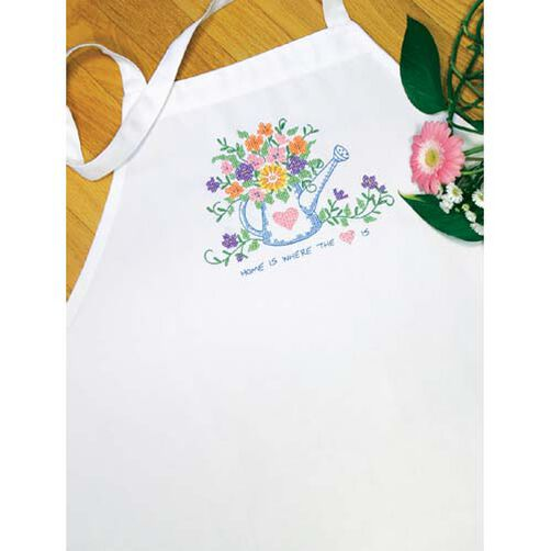 Watering Can Apron, Stamped Cross Stitch_73221