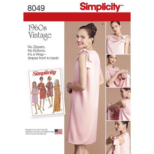Simplicity Pattern 8049 Misses' Vintage 1960s Three Armhole Dress