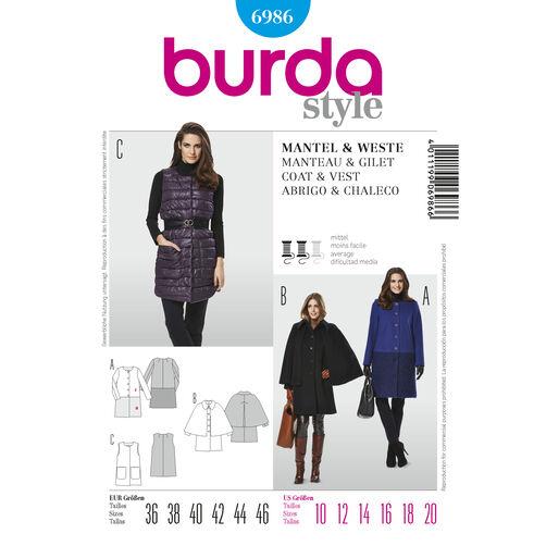 Burda Style Pattern 6986 Coat & Vest