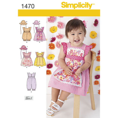 Babies' Dress, Romper and Hat in Three Sizes