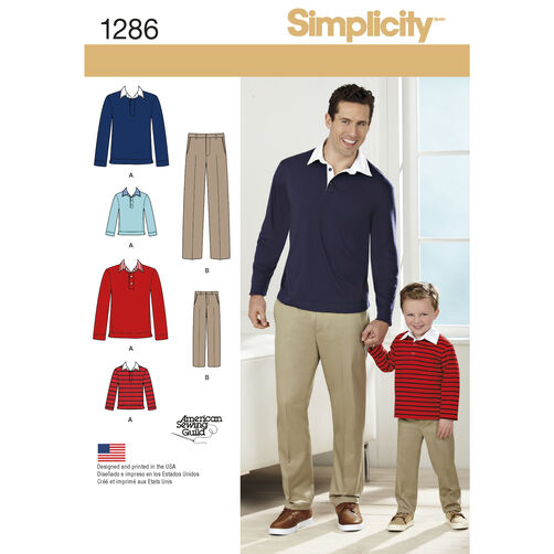 Simplicity Pattern 1286 Boys' and Men's Classic Pants and Knit Shirt