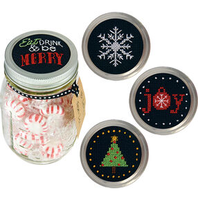 Holiday Cheer Jar Toppers, Counted Cross Stitch_70-08942
