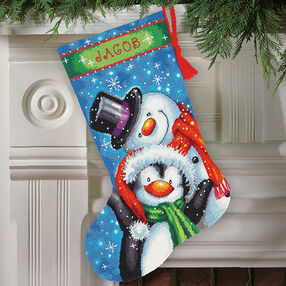 Polar Pals Stocking in Needlepoint_71-09153