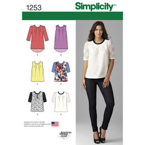 Simplicity Pattern 1253 Misses' Top with Length Variations