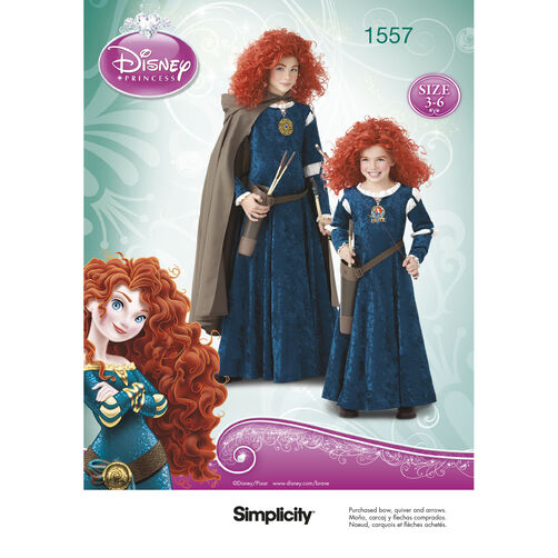 Simplicity Pattern 1557 Disney Brave Costumes for Children & Girls