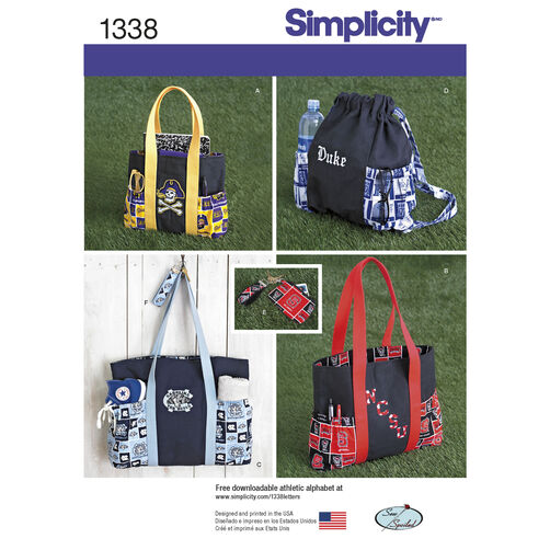 Simplicity Pattern 1338 Tote Bags in 3 Sizes, Backpack and Coin Purse