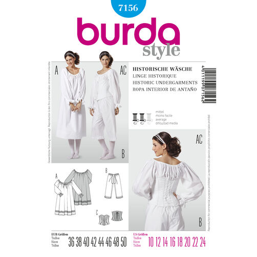 Burda Style Pattern 7156 Historic Undergarments
