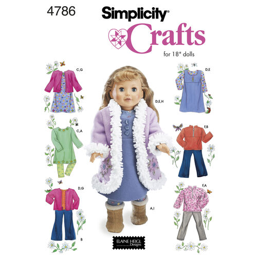 "Simplicity Pattern 4786 for 18"" Doll Clothes"