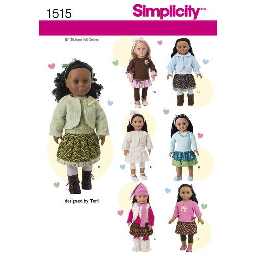 Simplicity Pattern 1515 18 inch Doll Wardrobe