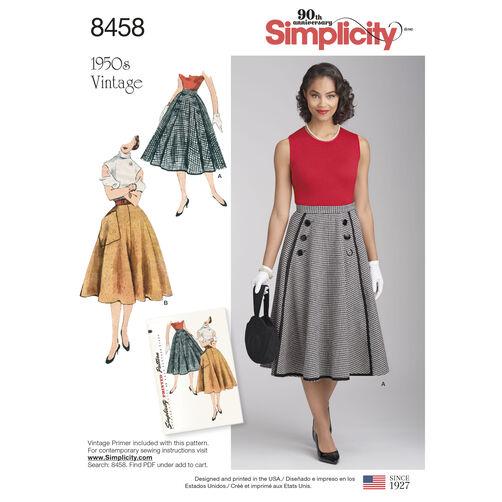 Simplicity Pattern 8458 Misses' Vintage Skirts