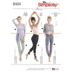 Pattern 8424 Misses' Knit Leggings in Two Lengths and Three Top Options