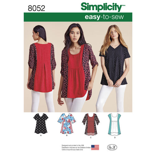 Simplicity Pattern 8052 Misses' Easy-to-Sew Tops