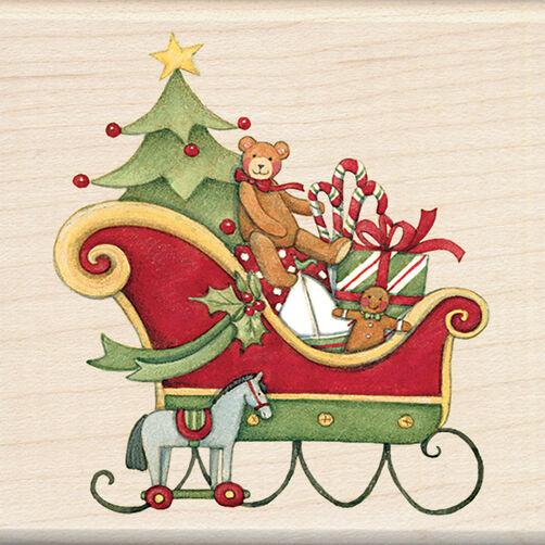 Santa's Sleigh Wood Stamp _60-00856
