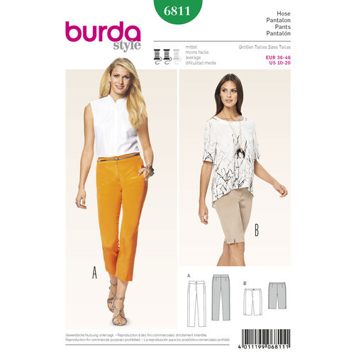 Burda Style Pattern 6811 Pants, Jumpsuits