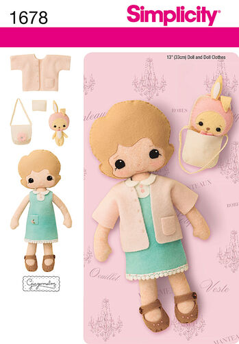 "13"" Felt Doll, Clothes and Accessories"