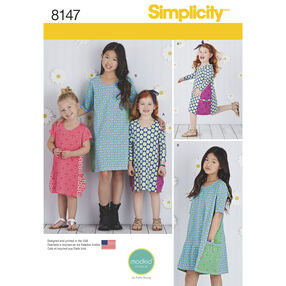 Simplicity Pattern 8147 Child's and Girls' Knit Dresses from Mod Kid Studio