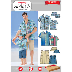 Simplicity Pattern EA558101 Premium Print on Demand Men's/Boys' Shirt, Shorts and Hat