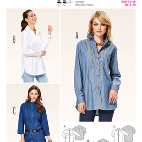 Burda Style Pattern 6908 Tops, Shirts, Blouses