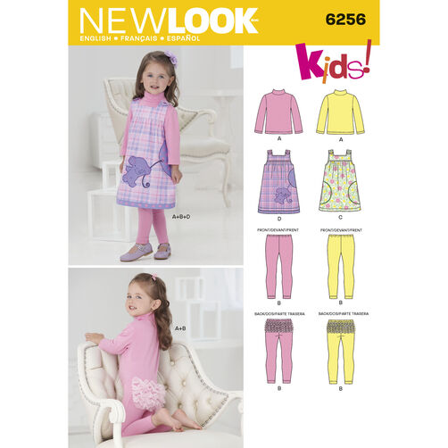 New Look Pattern 6256 Toddlers' Jumper and Knit Top and Leggings