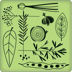 Garden Veggie Pattern Mini Cling Stamp_60-60230