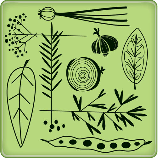 Garden Veggie Pattern Mini Cling Stamp_60-60230