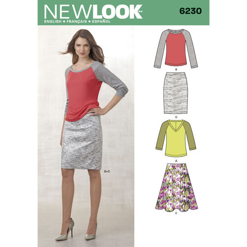 Misses' Knit Top and Full or Pencil Skirt