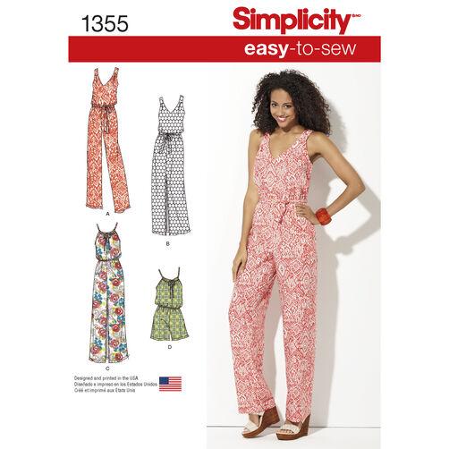 Simplicity Pattern 1355 Misses' Maxi Dress & Long or Short Jumpsuit