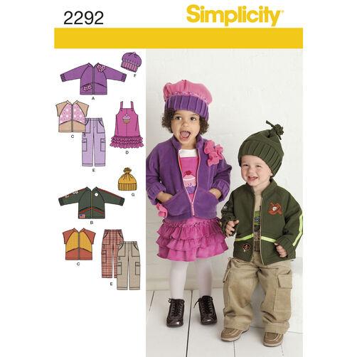 Simplicity Pattern 2292 Toddlers' Sportswear