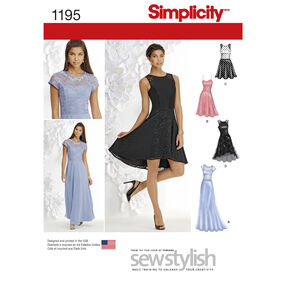 Simplicity Pattern 1195 Misses' and Miss Petite Special Occasion Dress