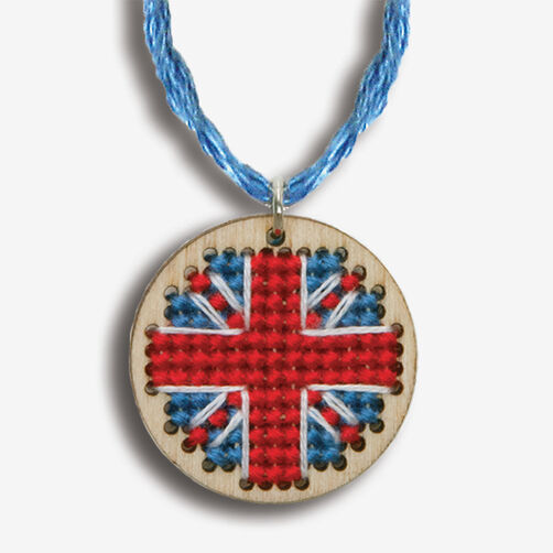 Small Union Jack Finished Pendant, Counted Cross Stitch_72-74090