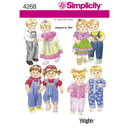 "Simplicity Pattern 4268 15"" Baby Doll Clothes"