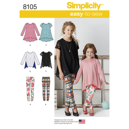 Simplicity Pattern 8105 Child's and Girls' Knit Tunics and Leggings