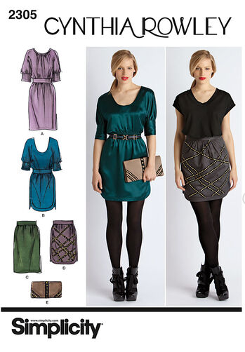 Simplicity Pattern 2305 Misses' Dresses. Skirt & Purse. Cynthia Rowley Collection