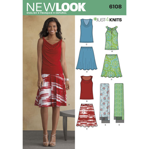 New Look Pattern 6108 Misses' Just 4 Knits Separates