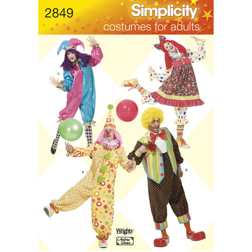 Simplicity Pattern 2849 Adult Clown Costumes