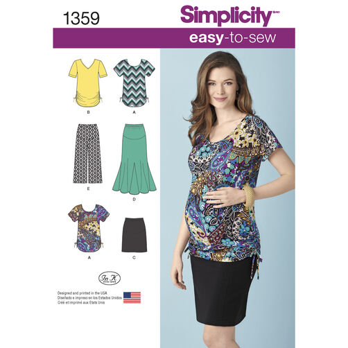 Simplicity Pattern 1359 Misses' Maternity Knit Skirts, Gaucho Pants & Tops